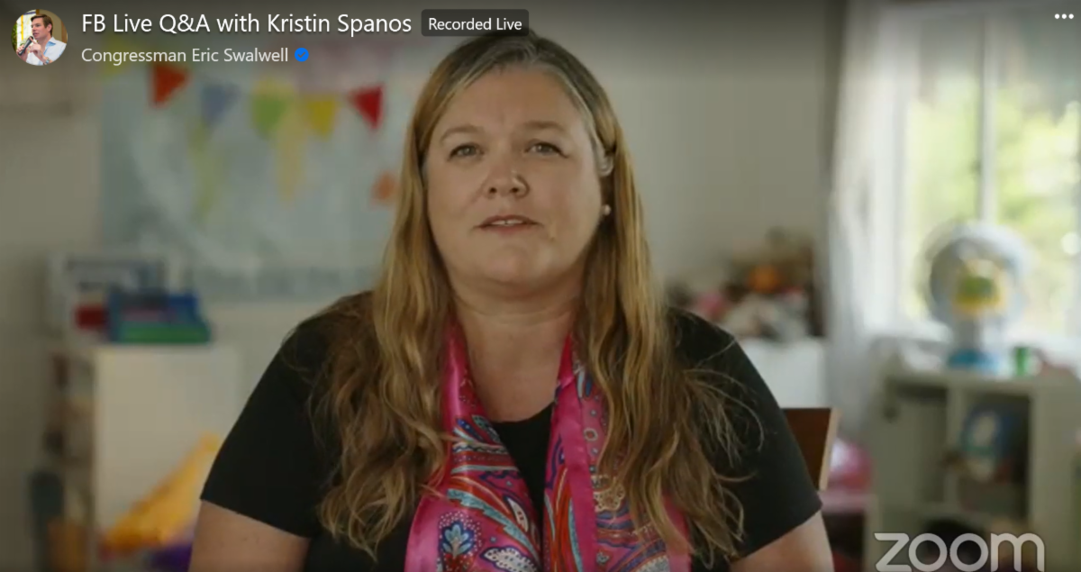 Kristen Spanos talks on a live video Q&A