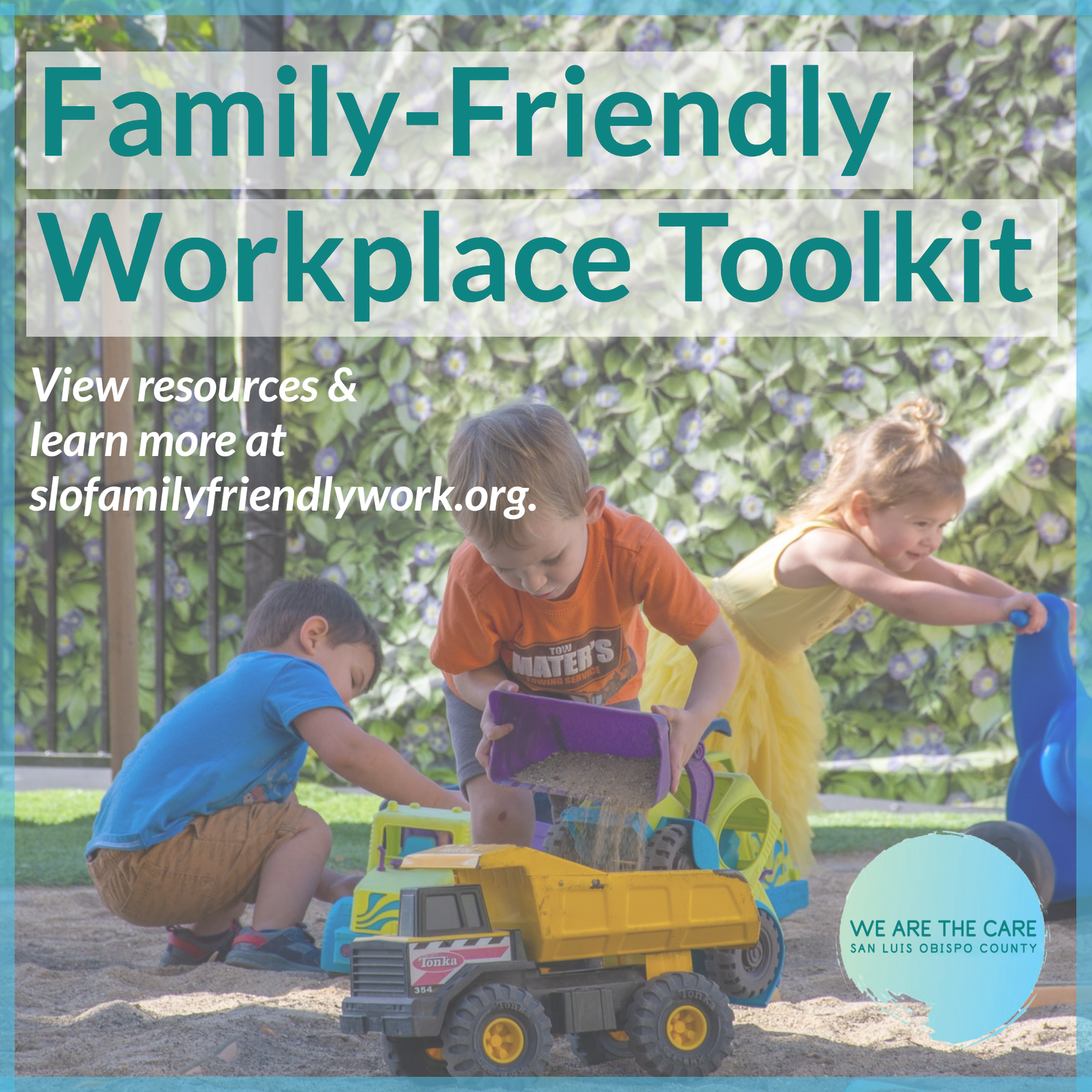 """Children playing on a playground and text advertising the new """"Family-Friendly Workplace Toolkit"""""""