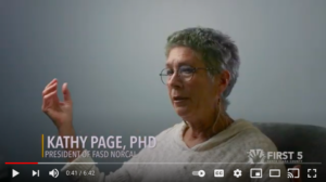 A still from the video showing Kathy Page speaking about FASD.