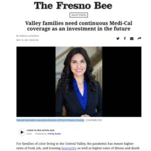 A screenshot of the op-ed on the Fresno Bee website