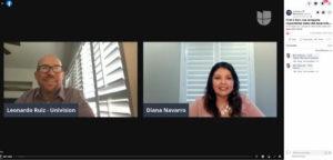 Diana Navarro and Leonardo Ruiz on a Zoom call to discuss HMG.